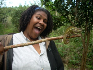 Playing with a chameleon during my teacher training stint in Madagascar.